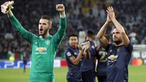 Manchester United celebra su victoria ante la Juventus