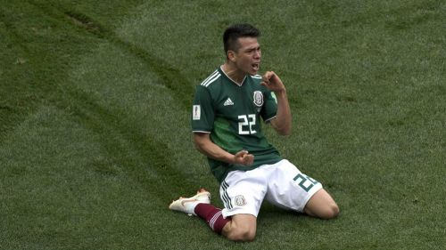 Lozano festeja su gol contra Alemania en el Mundial de Rusia 2018