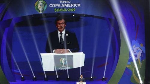 Alejandro Domínguez, durante el sorteo para la Copa América