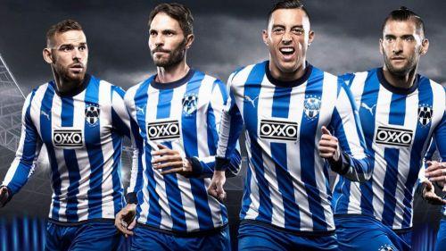 Jugadores de Monterrey con el jersey para el Mundial de Clubes 2019