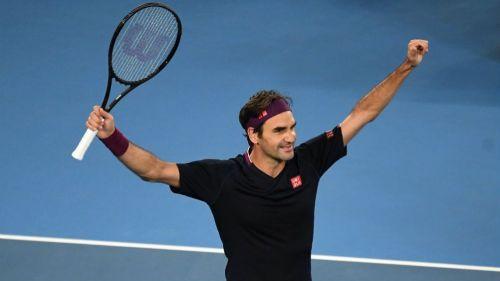 Roger Federer en festejo ante Millman