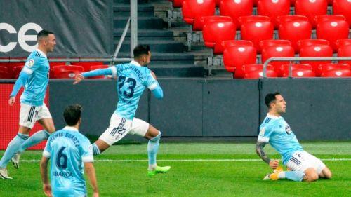 Jugadores del Celta de Vigo festejando un gol