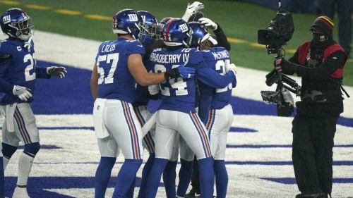 Giants en festejo de TD