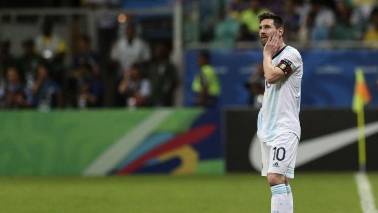 Messi, en el partido contra Colombia