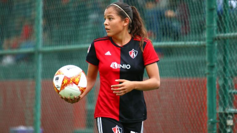 Fátima Delgado, en un partido del Atlas