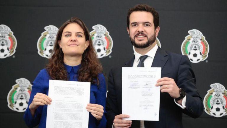 Iñigo Riestra, secretario de FMF,  Alexandra Haas, titular de Conapred