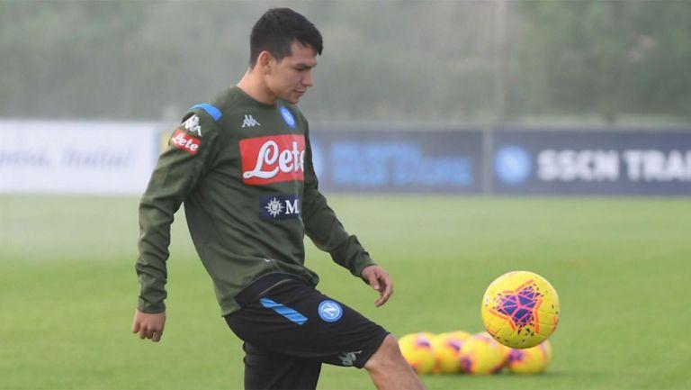 Chucky Lozano, en el entrenamiento del Napoli