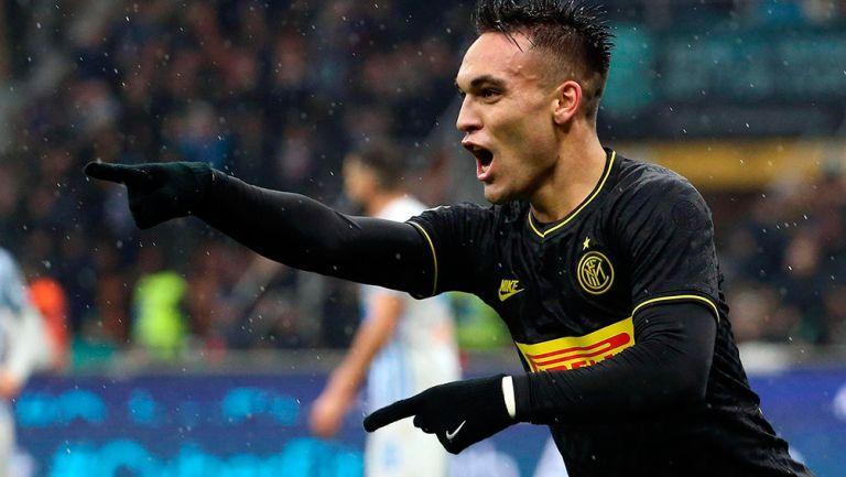 Martínez celebra uno de sus goles contra SPAL