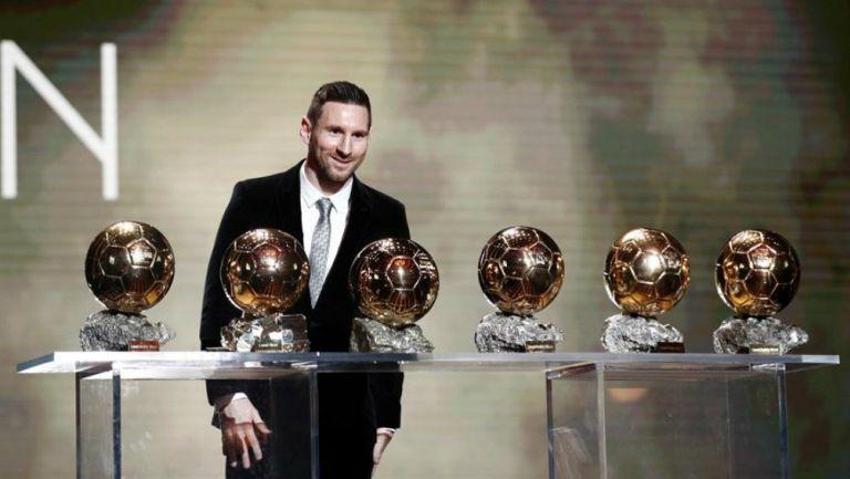 Messi presume sus Balones de Oro