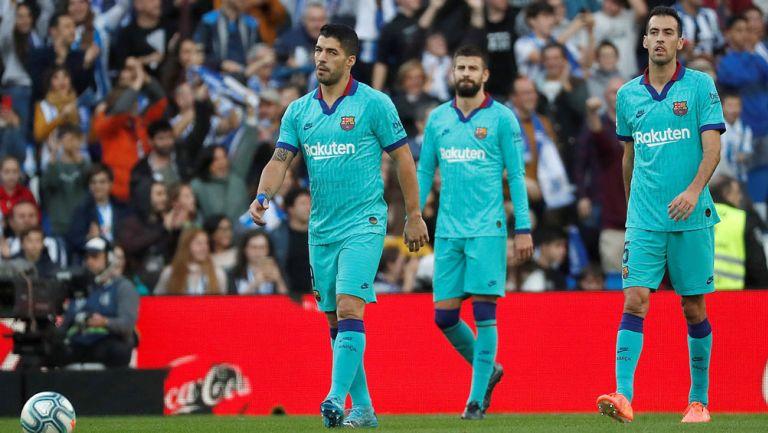 Suárez, Piqué y Busquets lamenta el empate ante la Real