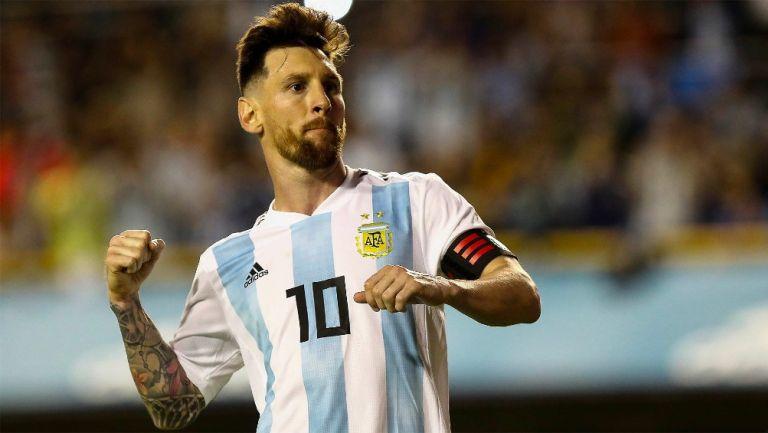Lionel Messi durante un partido con Argentina
