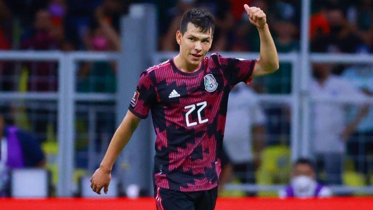 Hirving Lozano en el partido entre México y Honduras